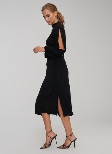 People By Fabrika Kol Detaylı Triko Elbise Siyah